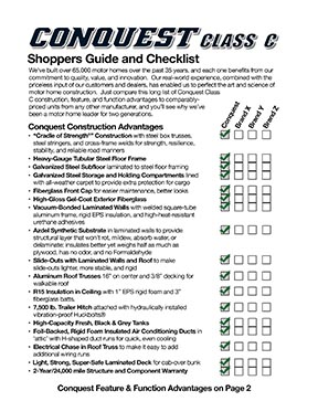 Conquest Class C Shoppers Guide and Checklist
